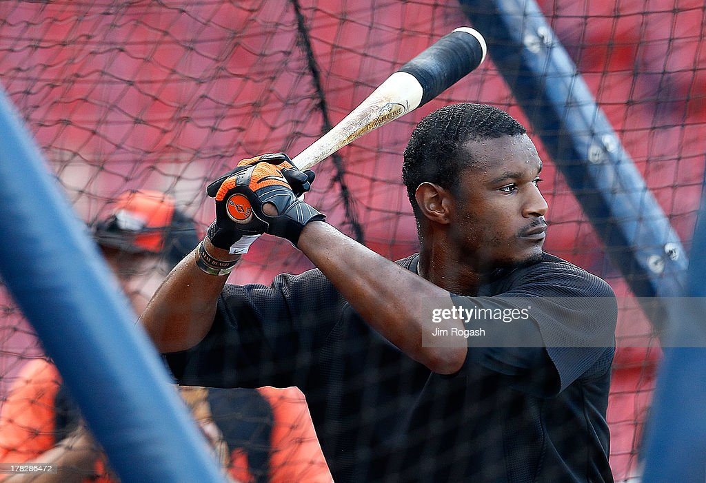 Adam Jones #10 of the Baltimore Orioles takes batting practice before a game with the Boston Red Sox at Fenway Park on August 28, 2013 in Boston, Massachusetts.