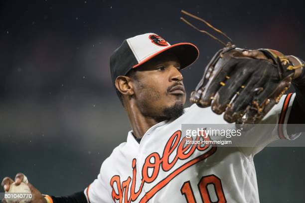 Adam Jones of the Baltimore Orioles throws against the Minnesota Twins on May 23 2017 at Oriole Park at Camden Yards in Baltimore Maryland The Twins...