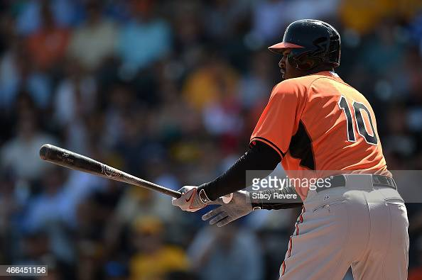 Adam Jones of the Baltimore Orioles waits for a pitch during a spring training game against the Pittsburgh Pirates at McKechnie Field on March 15...