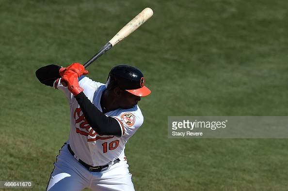 Adam Jones of the Baltimore Orioles waits for a pitch during a spring training game against the Minnesota Twins at Ed Smith Stadium on March 17 2015...