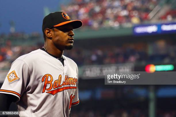 Adam Jones of the Baltimore Orioles walks off the field after the third inning against the Boston Red Sox at Fenway Park on May 2 2017 in Boston...