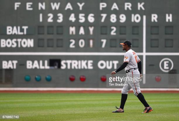 Adam Jones of the Baltimore Orioles walks on the field prior to the game against the Boston Red Sox at Fenway Park on May 2 2017 in Boston...