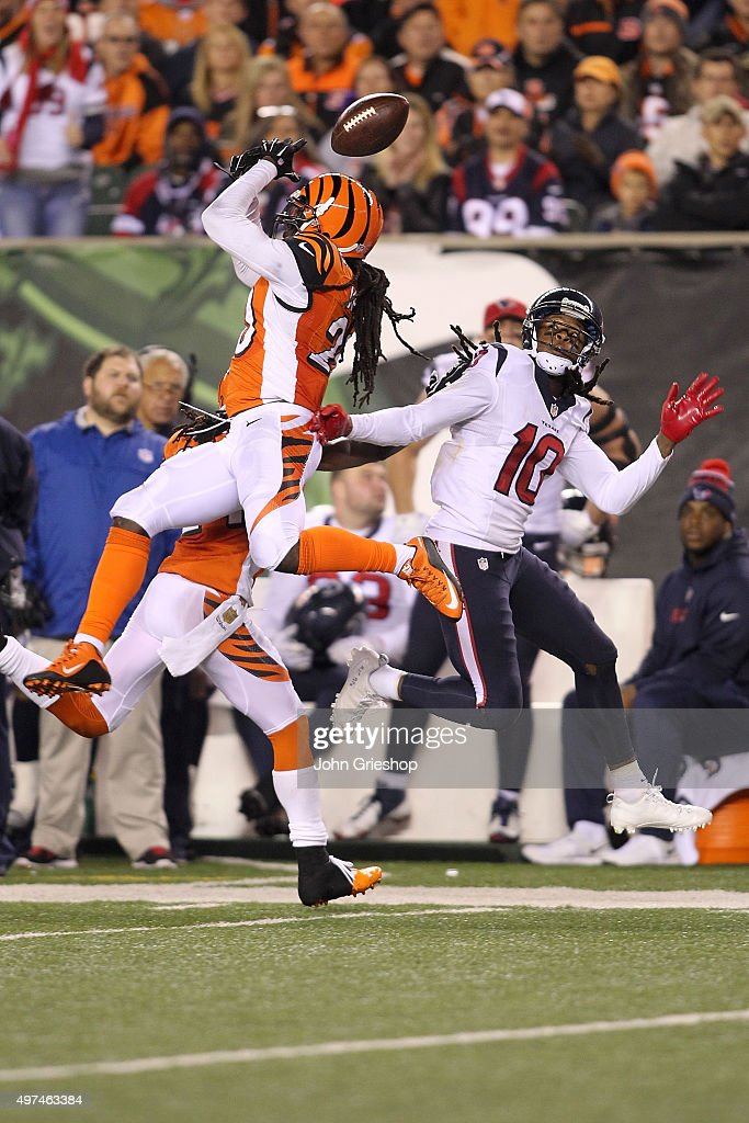 Adam Jones of the Cincinnati Bengals breaks up a pass intended for DeAndre Hopkins of the Houston Texans during the fourth quarter at Paul Brown...