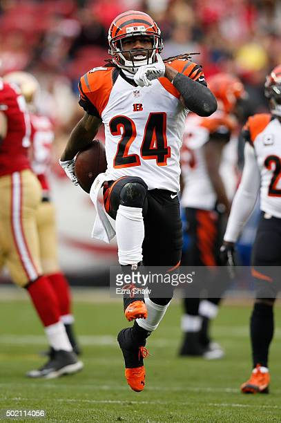 Adam Jones of the Cincinnati Bengals celebrates after an interception of Blaine Gabbert of the San Francisco 49ers during their NFL game at Levi's...