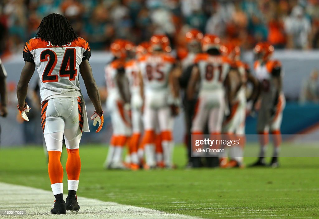 Adam Jones #24 of the Cincinnati Bengals looks on during a game against the Miami Dolphins at Sun Life Stadium on October 31, 2013 in Miami Gardens, Florida.