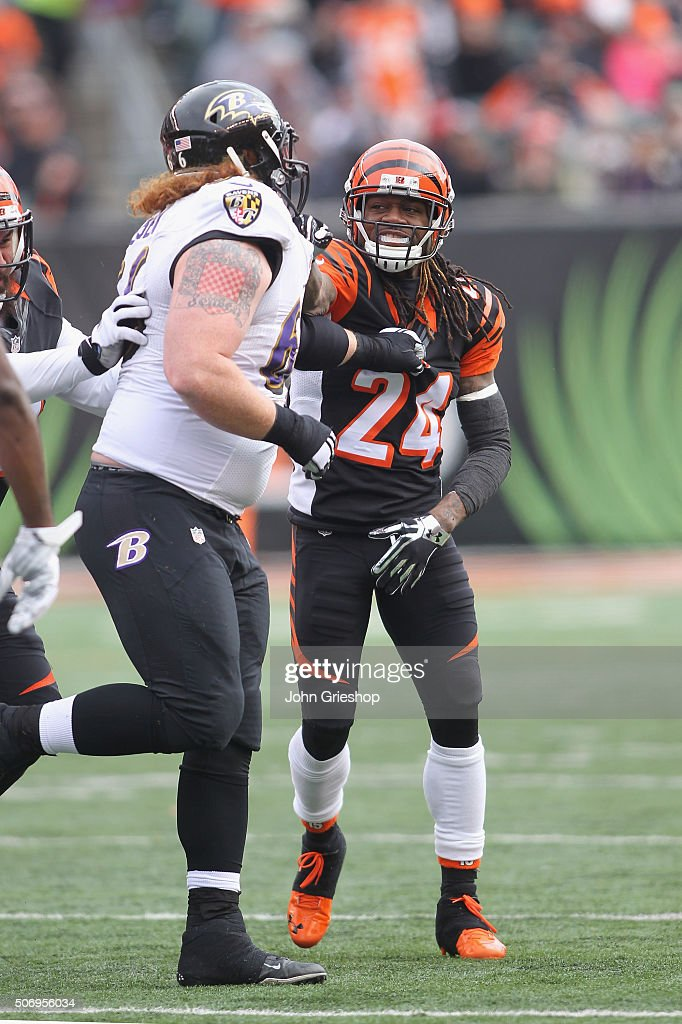 Adam Jones #24 of the Cincinnati Bengals squares off with <a gi-track='captionPersonalityLinkClicked' href=/galleries/search?phrase=Ryan+Jensen&family=editorial&specificpeople=234524 ng-click='$event.stopPropagation()'>Ryan Jensen</a> #66 of the Baltimore Ravens during their game at Paul Brown Stadium on January 3, 2016 in Cincinnati, Ohio. The Bengals defeated the Ravens 24-16.