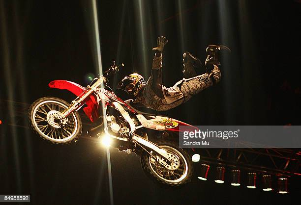 Adam Jones of the Crusty Demons demonstrates a trick with no hands during the Crusty Demons Unleashed Tour of New Zealand at Vector Arena on February...