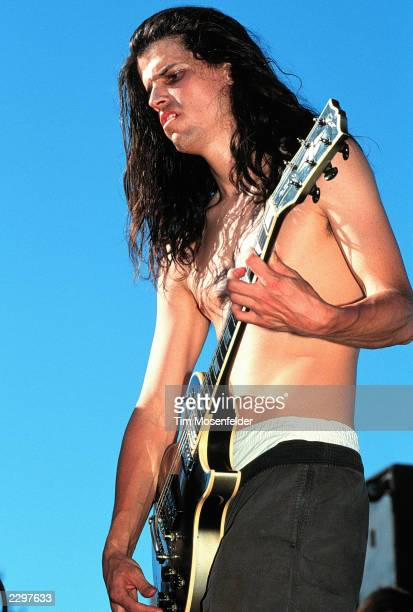 Adam Jones of Tool performing at Shoreline Amphitheater in Mountain View Calif on June 23rd 1993 Lollapalooza 1993 Image By Tim...