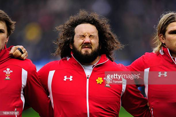 Adam Jones of Wales lines up for the anthems prior to the RBS Six Nations match between Scotland and Wales at Murrayfield Stadium on March 9 2013 in...