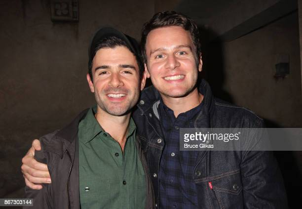 Adam Kantor and Jonathan Groff pose backstage at the new hit musical 'The Band's Visit' on Broadway at The Ethel Barrymore Theatre on October 27 2017...