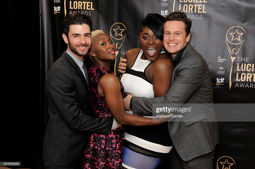 Adam Kantor, <a gi-track='captionPersonalityLinkClicked' href=/galleries/search?phrase=Cynthia+Erivo&family=editorial&specificpeople=8553747 ng-click='$event.stopPropagation()'>Cynthia Erivo</a>, <a gi-track='captionPersonalityLinkClicked' href=/galleries/search?phrase=Danielle+Brooks&family=editorial&specificpeople=8868624 ng-click='$event.stopPropagation()'>Danielle Brooks</a>, and <a gi-track='captionPersonalityLinkClicked' href=/galleries/search?phrase=Jonathan+Groff&family=editorial&specificpeople=2994250 ng-click='$event.stopPropagation()'>Jonathan Groff</a> attend the press room for the 31st Annual Lucille Lortel Awards at NYU Skirball Center on May 1, 2016 in New York City.