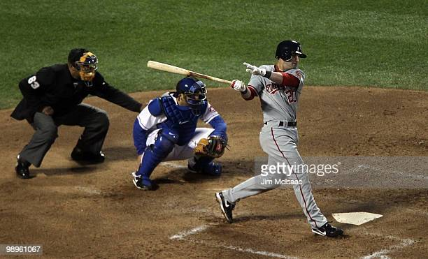 Adam Kennedy of the Washington Nationals follows through on his third inning home run against the New York Mets on May 10 2010 at Citi Field in the...