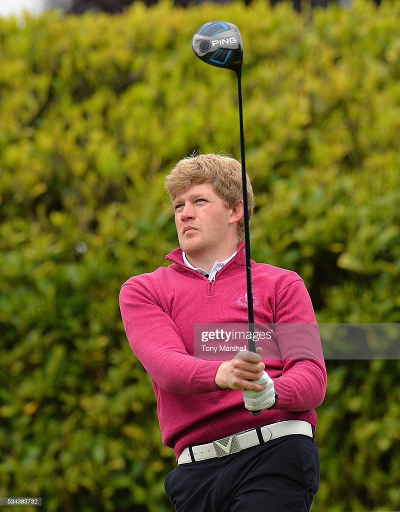 Adam Keogh of Spalding Golf Club plays his first shot on the 1st tee during the PGA Assistants Championships - Midlands Qualifier at the Coventry Golf Club on May 26, 2016 in Coventry, England.
