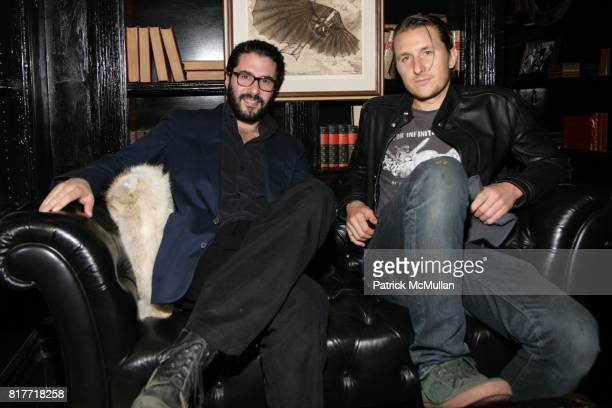 Adam Kimmel and Scott Campbell attend GQ Celebrates TOPMAN at a dinner hosted by Pete Hunsinger and David Shepherd at The Lion on October 12 2010 in...