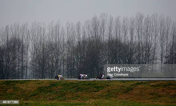 Adam Kirby riding Deinonychus lead all the way to win The coralcouk Median Auction Maiden Stakes at Lingfield racecourse on January 21 2015 in...