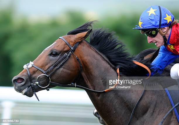 Adam Kirby riding Es Que Love to win The bet365 Lennox Stakes at Goodwood racecourse on July 29 2014 in Chichester England