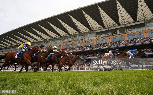 Adam Kirby riding Flash Fire win The Totescoop6 Victoria Cup at Ascot racecourse on May 7 2016 in Ascot England