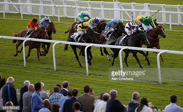 Adam Kirby riding Ice Lord win The Sky Bet Windsor Sprint Series handicap Stakes at Windsor Racecourse on May 23 2016 in Windsor England