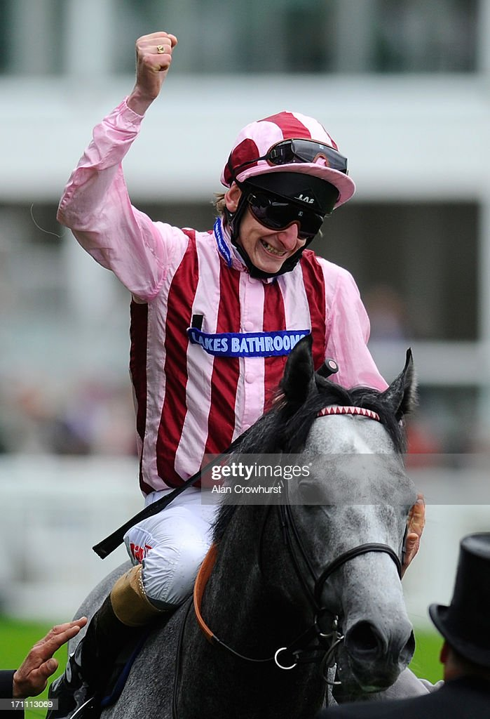 <a gi-track='captionPersonalityLinkClicked' href=/galleries/search?phrase=Adam+Kirby&family=editorial&specificpeople=241329 ng-click='$event.stopPropagation()'>Adam Kirby</a> riding Lethal Force reacts after winning the Diamond Jubilee Stakes during day five of Royal Ascot at Ascot Racecourse on June 22, 2013 in Ascot, England.