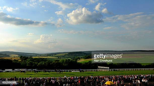 Adam Kirby riding Mount Logan win The Mazda Jinba Ittai Stakes at Goodwood racecourse on June 13 2014 in Chichester England