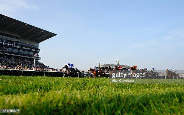 Adam Kirby riding Ocean Tempest win The William Hill Lincoln at Doncaster racecourse on March 29 2014 in Doncaster England
