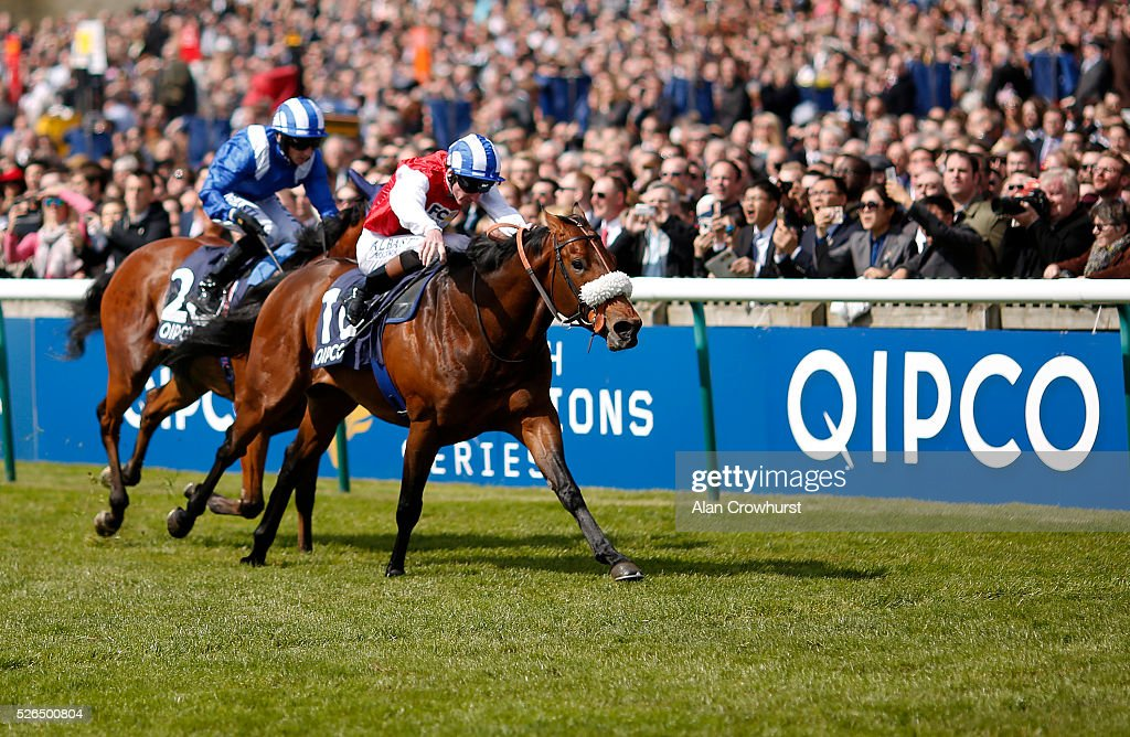 Adam Kirby riding Profitable (R) win The Pearl Bloodstock Palace House Stakes at Newmarket racecourse on April 30, 2016 in Newmarket, England.