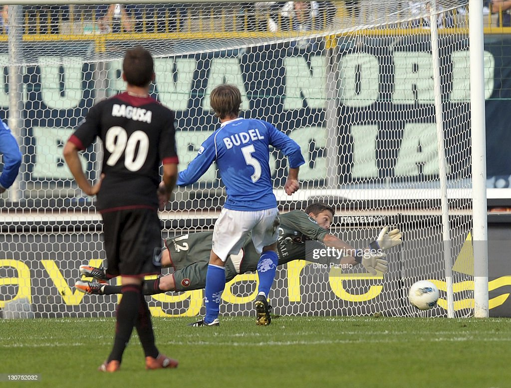 Adam Kovacsik Goal Kepeer of Reggina saves the second penalty kick of Alessandro Budel of Brescia during the Serie B match between Brescia Calcio and...
