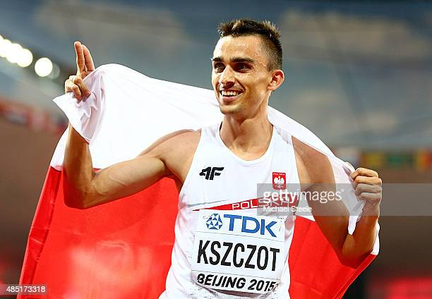 Adam Kszczot of Poland celebrates after winning silver in the Men's 800 metres final during day four of the 15th IAAF World Athletics Championships...