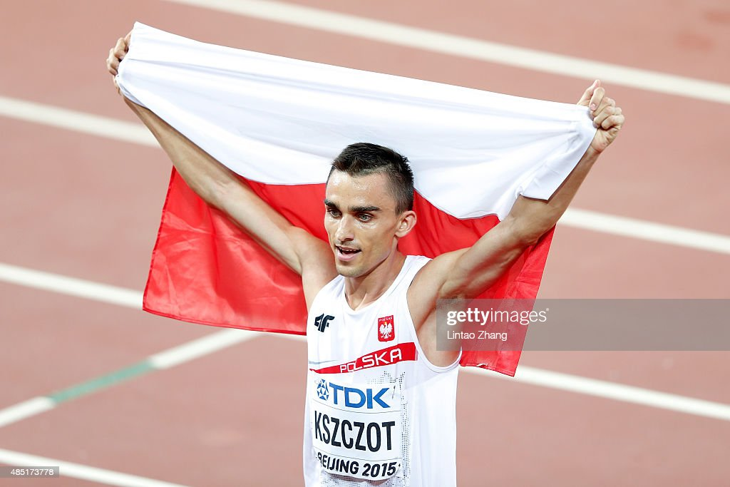 <a gi-track='captionPersonalityLinkClicked' href=/galleries/search?phrase=Adam+Kszczot&family=editorial&specificpeople=5746296 ng-click='$event.stopPropagation()'>Adam Kszczot</a> of Poland celebrates after winning silver in the Men's 800 metres final during day four of the 15th IAAF World Athletics Championships Beijing 2015 at Beijing National Stadium on August 25, 2015 in Beijing, China.