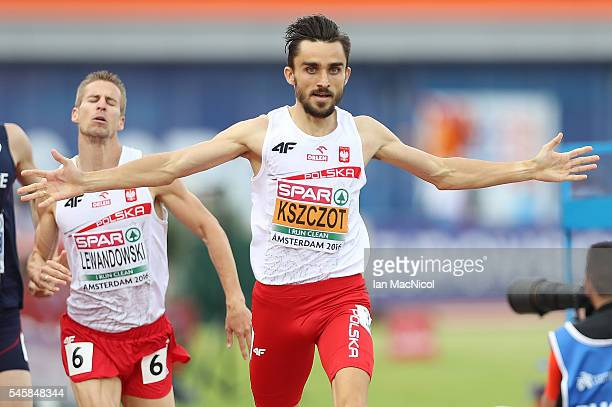 Adam Kszczot of Poland celebrates winning gold in the final of the mens 800m on day five of The 23rd European Athletics Championships at Olympic...
