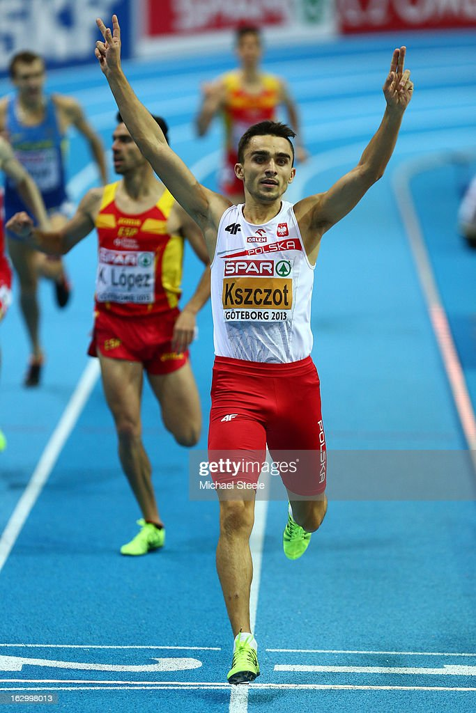 <a gi-track='captionPersonalityLinkClicked' href=/galleries/search?phrase=Adam+Kszczot&family=editorial&specificpeople=5746296 ng-click='$event.stopPropagation()'>Adam Kszczot</a> of Poland crosses the line to win gold in the Men's 800m Final during day three of European Indoor Athletics at Scandinavium on March 3, 2013 in Gothenburg, Sweden.