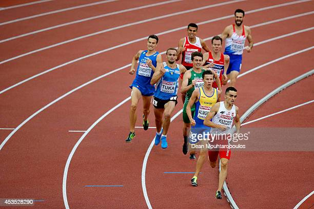 Adam Kszczot of Poland leads the pack in the Men's 800 metres heats during day one of the 22nd European Athletics Championships at Stadium Letzigrund...