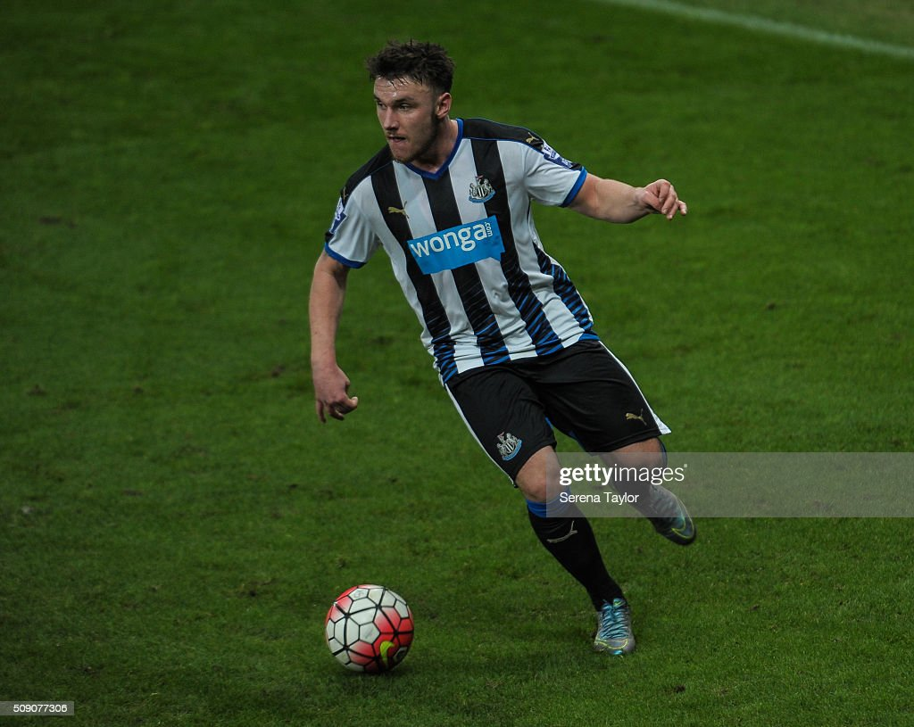 Adam Laidler of Newcastle controls the ball during the Barclays Premier League U21 match between Newcastle United and Stoke City at St.James' Park on February 8, 2016, in Newcastle upon Tyne, England.