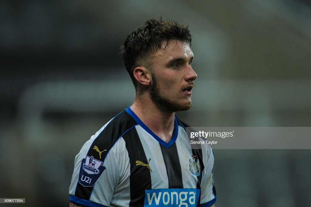 Adam Laidler of Newcastle looks on during the Barclays Premier League U21 match between Newcastle United and Stoke City at St.James' Park on February 8, 2016, in Newcastle upon Tyne, England.