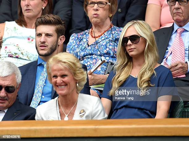 Adam Lallana and Emily Jubb attend the Christina McHale v Sabine Lisicki match on day four of the Wimbledon Tennis Championships at Wimbledon on July...