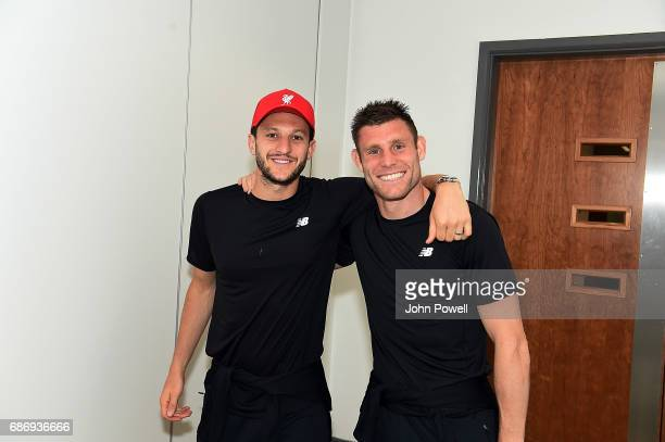 Adam Lallana and James Milner of Liverpool at Melwood Training Ground on May 22 2017 in Liverpool England