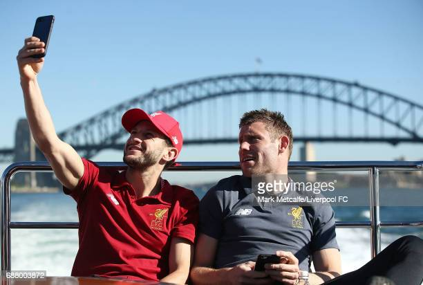 Adam Lallana and James Milner take a a selfie during a Liverpool FC player visit to Taronga Zoo on May 25 2017 in Sydney Australia
