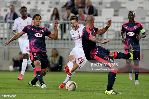 Adam Lallana for Liverpool FC scores a goal during the Europa League game between FC Girondins de Bordeaux and Liverpool FC at Matmut Atlantique...