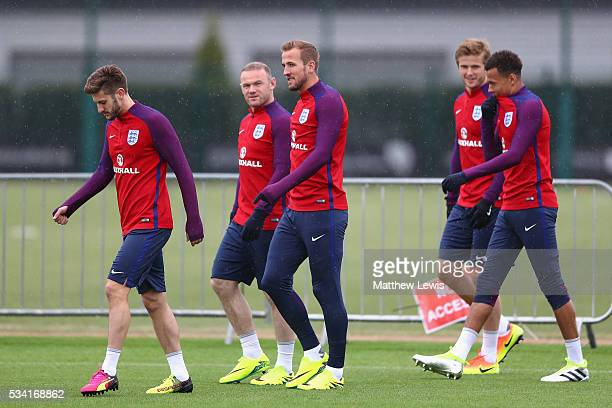 Adam Lallana Harry Kane Wayne Rooney Eric Dier and Dele Alli of England arrive prior the England training session at Manchester City Football Academy...