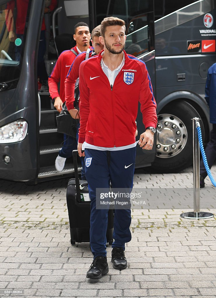 <a gi-track='captionPersonalityLinkClicked' href=/galleries/search?phrase=Adam+Lallana&family=editorial&specificpeople=5475862 ng-click='$event.stopPropagation()'>Adam Lallana</a> of England arrives at the team hotel on the eve of their international friendly against Australia at the Hilton Gateshead on May 26, 2016 in Newcastle upon Tyne, England.