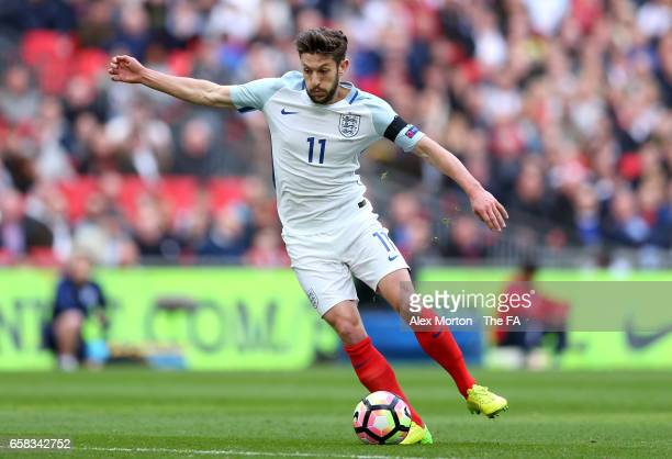 Adam Lallana of England in action during the FIFA 2018 World Cup Qualifier between England and Lithuania at Wembley Stadium on March 26 2017 in...