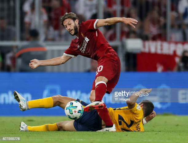 Adam Lallana of Liverpool and K Bare of Atletico Madrid battle for the ball during the Audi Cup 2017 match between Liverpool FC and Atletico Madrid...