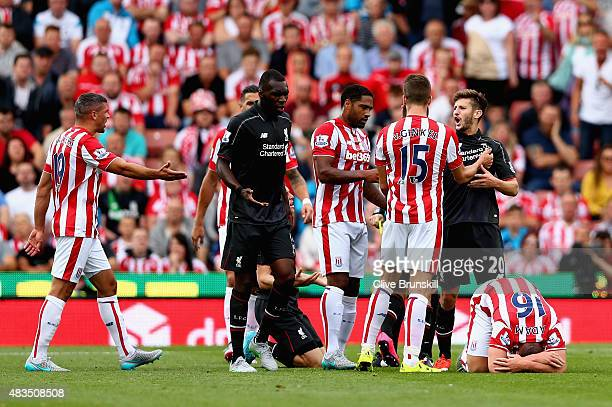 Adam Lallana of Liverpool argues with Marco Van Ginkel of Stoke City during the Barclays Premier League match between Stoke City and Liverpool at...