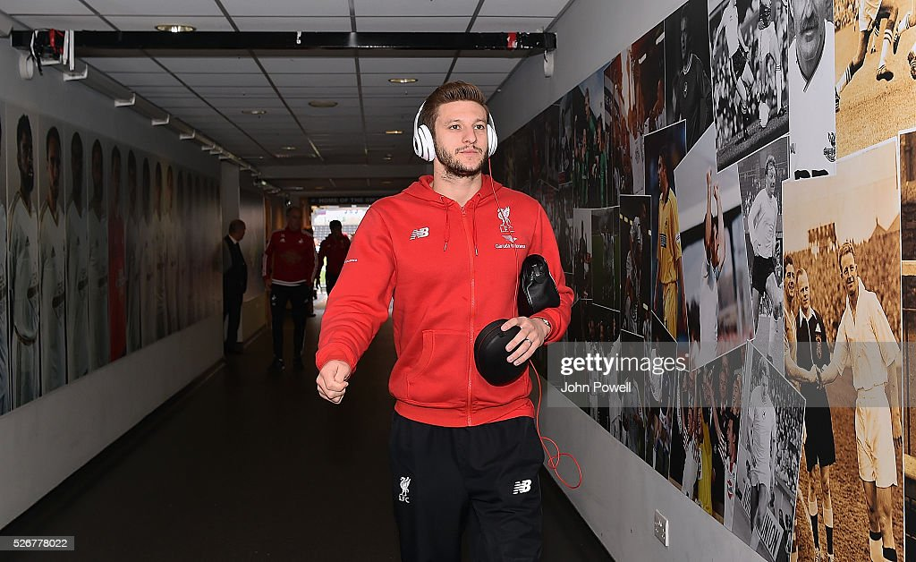 Adam Lallana of Liverpool arrives before a Premier League match between Swansea City and Liverpool at the Liberty Stadium on May 01, 2016 in Swansea, Wales.