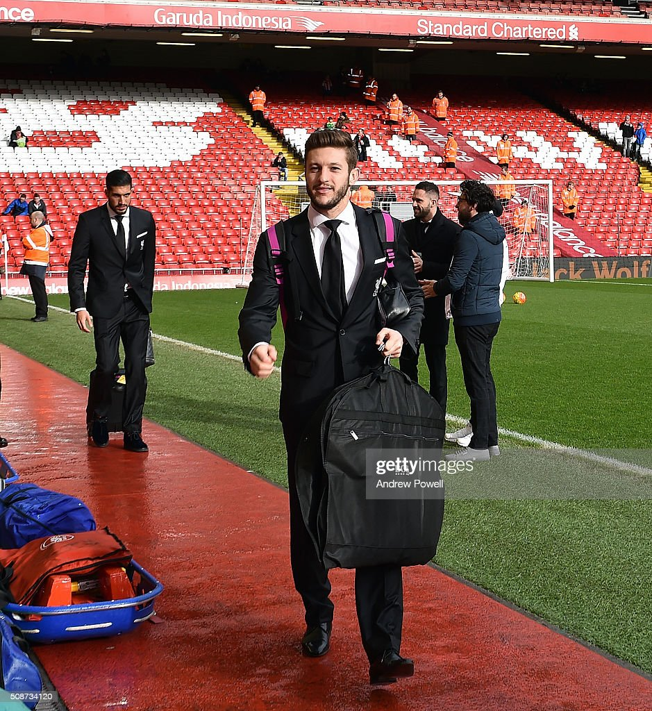 <a gi-track='captionPersonalityLinkClicked' href=/galleries/search?phrase=Adam+Lallana&family=editorial&specificpeople=5475862 ng-click='$event.stopPropagation()'>Adam Lallana</a> of Liverpool arrives before the Barclays Premier League match between Liverpool and Sunderland at Anfield on February 6, 2016 in Liverpool, England.