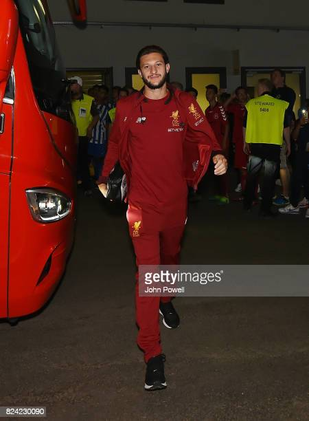 Adam Lallana of Liverpool arrives before the preseason friendly match between Hertha BSC and FC Liverpool at Olympiastadion on July 29 2017 in Berlin...