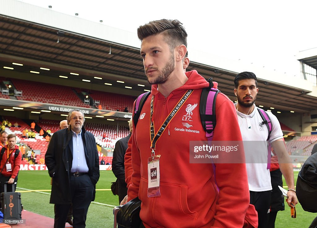 <a gi-track='captionPersonalityLinkClicked' href=/galleries/search?phrase=Adam+Lallana&family=editorial&specificpeople=5475862 ng-click='$event.stopPropagation()'>Adam Lallana</a> of Liverpool arrives before the UEFA Europa League Semi Final: Second Leg match between Liverpool and Villarreal CF at Anfield on May 05, 2016 in Liverpool, England.