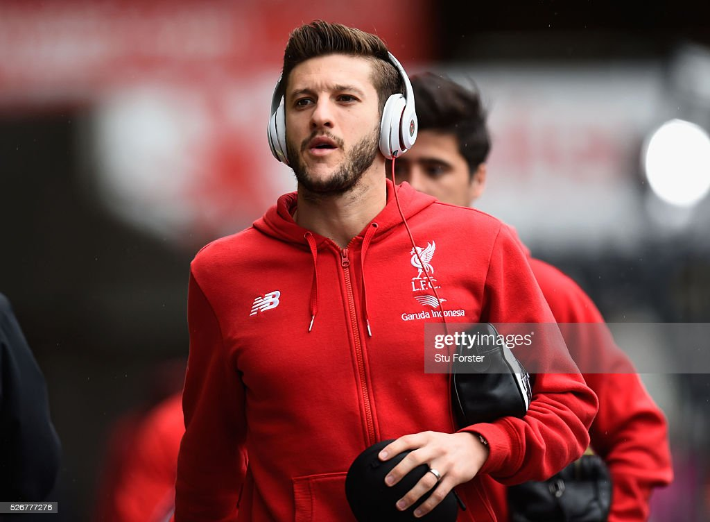 Adam Lallana of Liverpool arrives for the Barclays Premier League match between Swansea City and Liverpool at The Liberty Stadium on May 1, 2016 in Swansea, Wales.