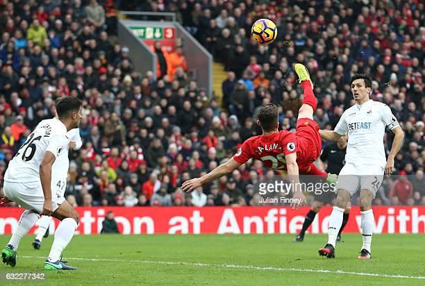 Adam Lallana of Liverpool attempts a overhead kick during the Premier League match between Liverpool and Swansea City at Anfield on January 21 2017...