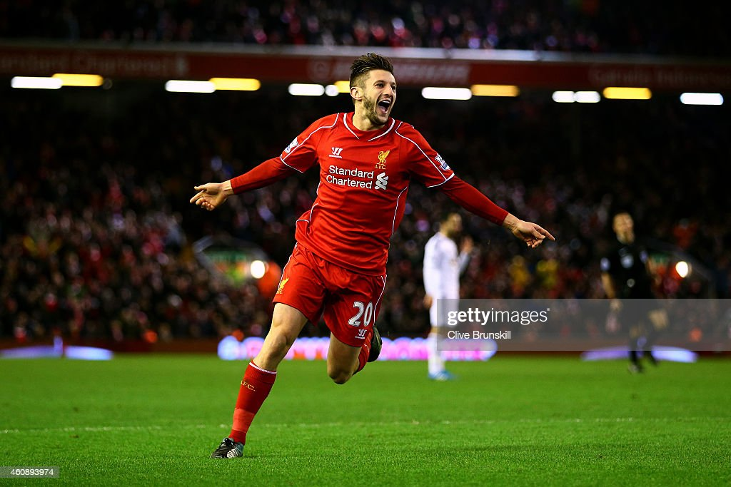 <a gi-track='captionPersonalityLinkClicked' href=/galleries/search?phrase=Adam+Lallana&family=editorial&specificpeople=5475862 ng-click='$event.stopPropagation()'>Adam Lallana</a> of Liverpool celebrates after scoring his team's second goal during the Barclays Premier League match between Liverpool and Swansea City at Anfield on December 29, 2014 in Liverpool, England.